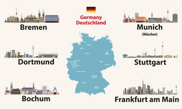deutschlandkarte mit den größten städten skylines ikonen. vektorabbildung - düsseldorf stock-grafiken, -clipart, -cartoons und -symbole