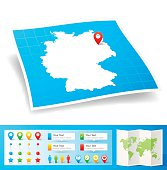Germany Map with location pins isolated on white Background