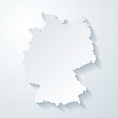 Germany map with paper cut effect on blank background