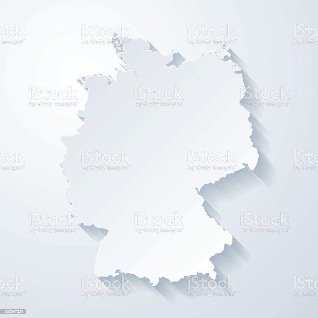 Mapa da Alemanha com papel corta efeito no fundo em branco - ilustração de arte em vetor