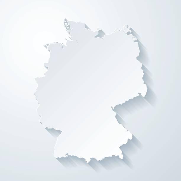 독일 지도 종이 잘라 빈 배경 효과 - 독일 stock illustrations
