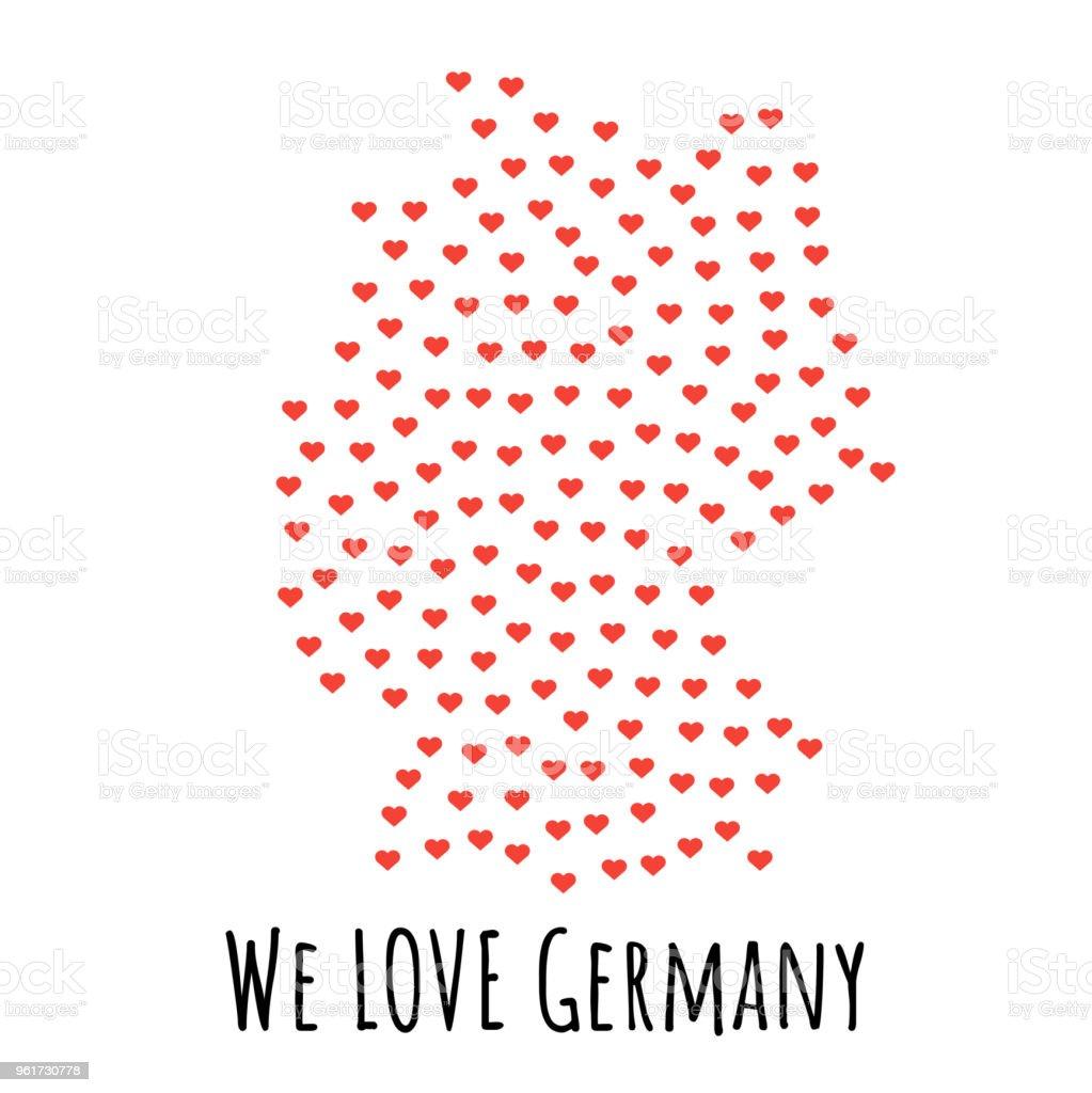 Deutschland Karte Mit Roten Herzen Symbol Der Liebe Zusammenfassung
