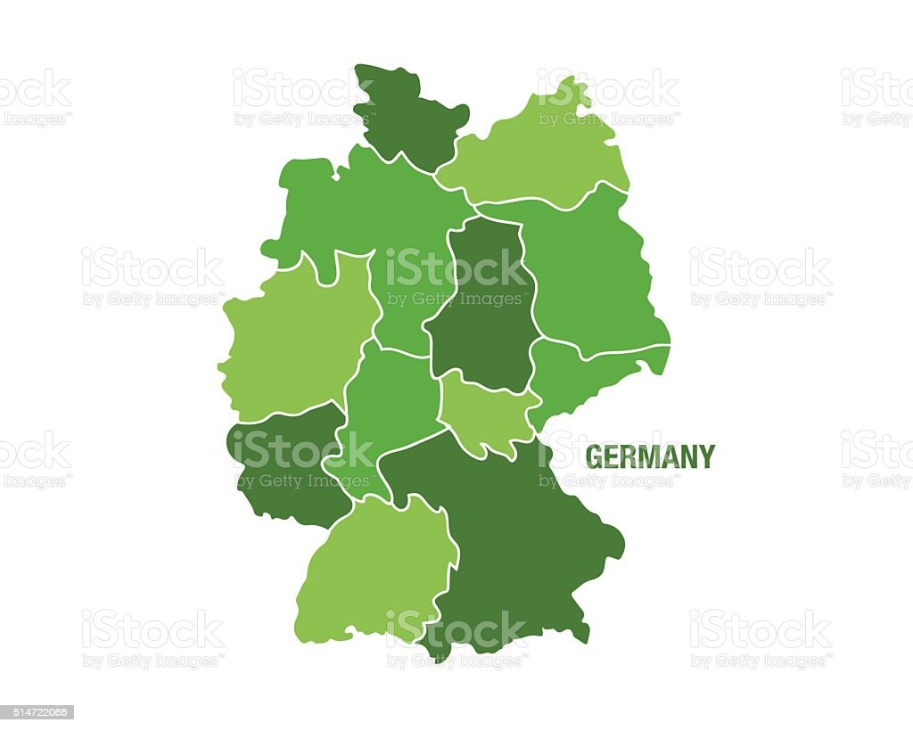 Germany map with regions vector art illustration
