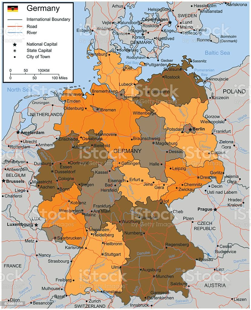Germany Map With Selectable Territories Vector Stock Vector Art - Sweden highway map