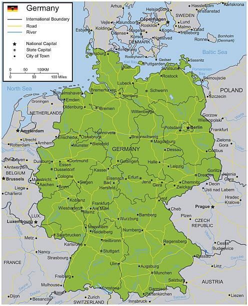 Germany map with selectable territories. Vector - ilustración de arte vectorial