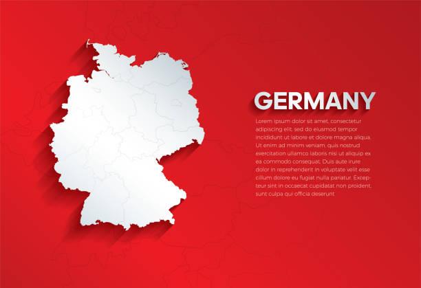 mapa niemiec z cieniem. wytnij papier izolowany na czerwonym tle. ilustracja wektorowa. - niemcy stock illustrations