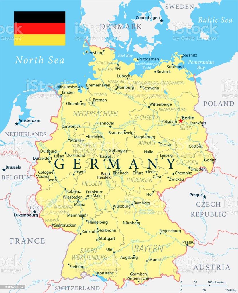 Carte Allemagne De Louest.Illustration De Vecteur Tres Detaillees Jaune Carte
