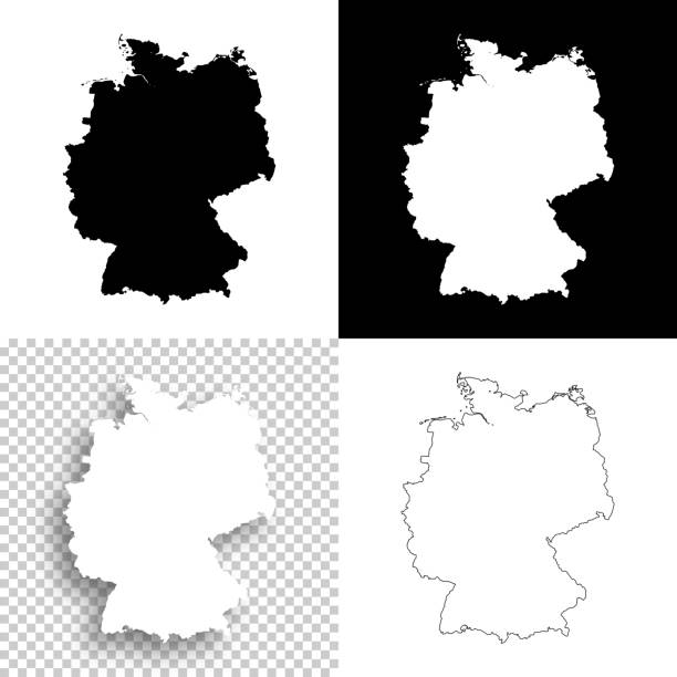 mapy niemiec do projektowania - puste, białe i czarne tła - niemcy stock illustrations