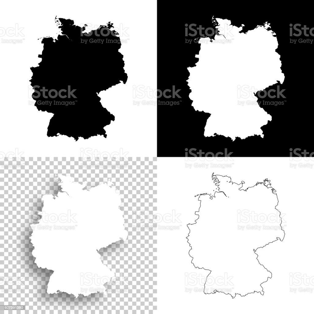 Mapas de Alemanha para design - branco, planos de fundo brancos e pretos - ilustração de arte em vetor