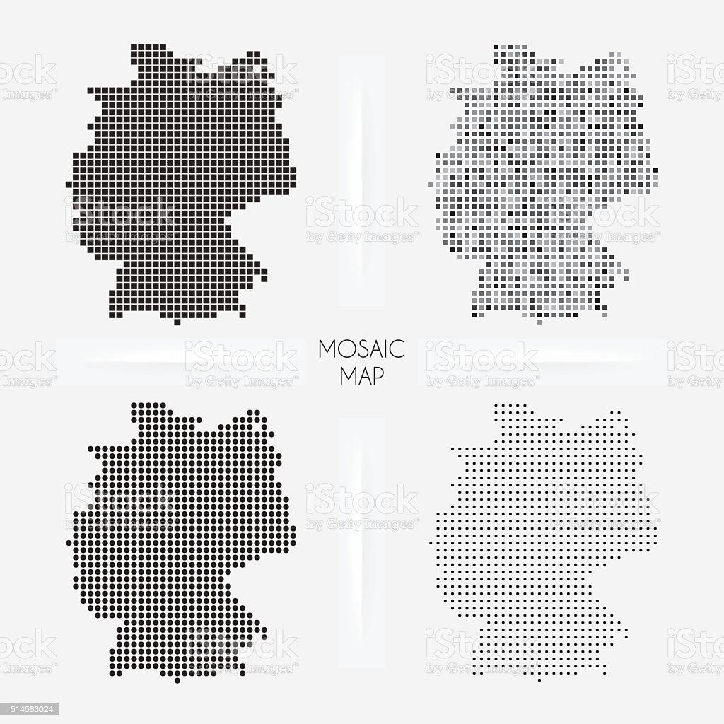 Alemanha mapas-Mosaic squarred e pontilhado - ilustração de arte em vetor