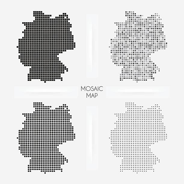 Alemania mapas de mosaico squarred y salpicado - ilustración de arte vectorial