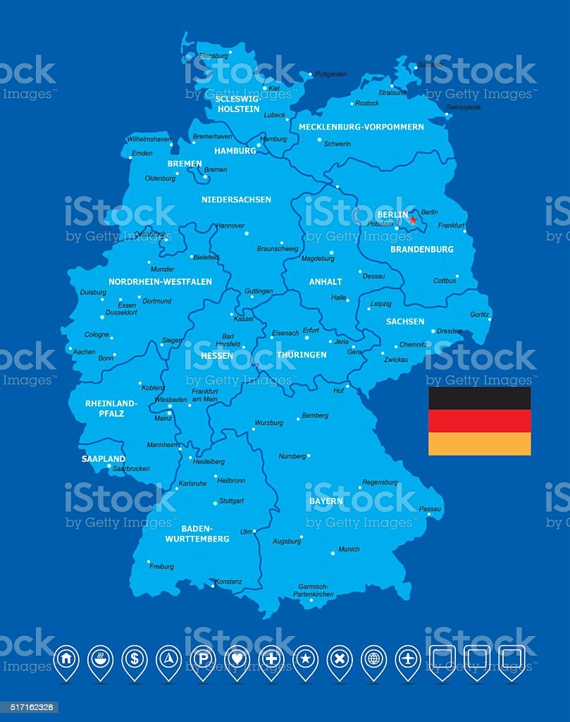 Germany Map-Vector Illustration vector art illustration
