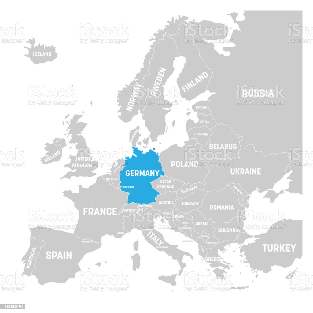 germany marked by blue in grey political map of europe vector illustration royalty free