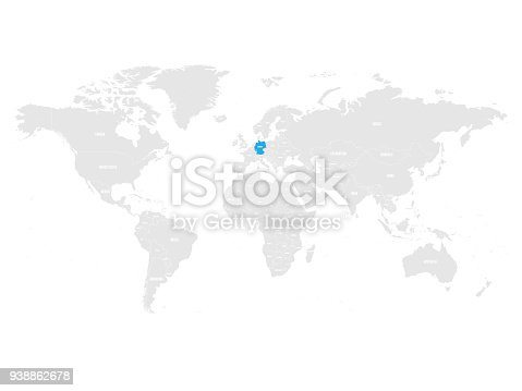 Germany marked by blue in grey world political map vector germany marked by blue in grey world political map vector illustration stock vector art more images of backgrounds 938862678 istock gumiabroncs Image collections