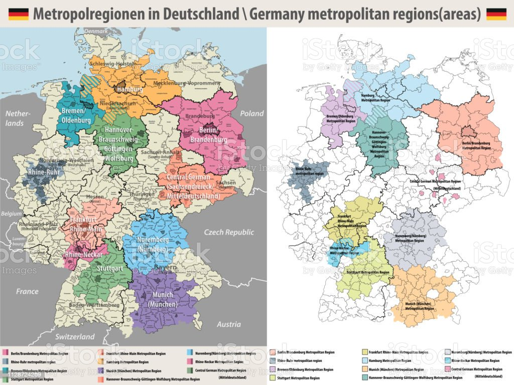 Regions Of Germany Map.Germany Metropolitan Regions Vector Map Stock Illustration