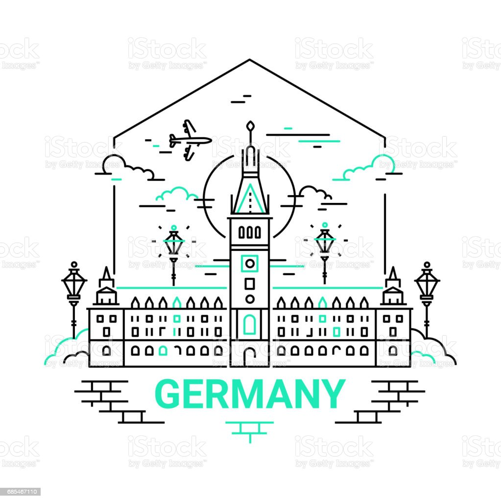 Germany - modern vector line travel illustration vector art illustration