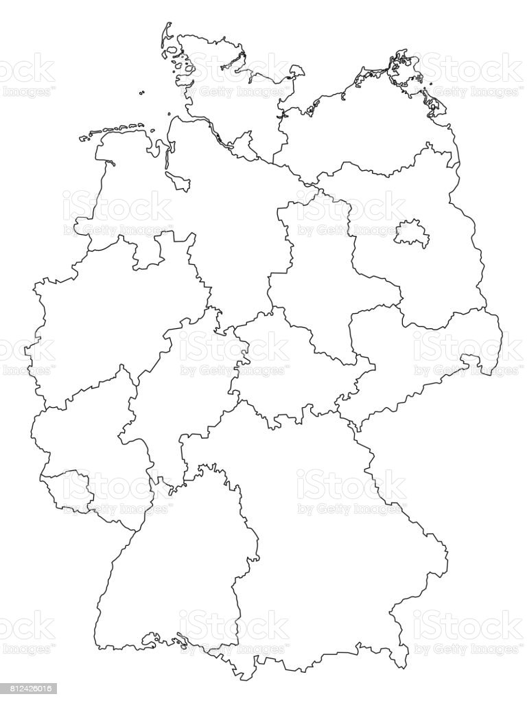 Germany Outline Map With Federal States Isolated On White - Germany map drawing
