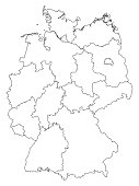 Germany Outline Map Isolated On White Background Stock Vector Art - Outline map of germany with states