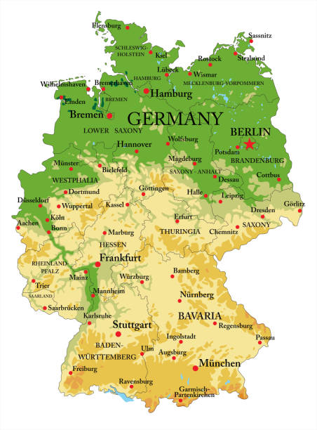 Germany physical map Highly detailed physical map of Germany,in vector format,with all the relief forms,regions and big cities. lachen stock illustrations