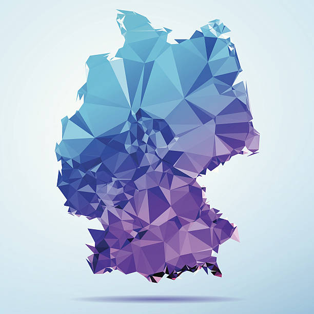 Germany Polygon Triangle Map Blue Abstract Polygon Triangle vector map of Germany. File was created in DMesh Pro and Adobe Illustrator on May 15, 2014. The colors in the .eps-file are in RGB. Transparencies used. Included files are EPS (v10) and Hi-Res JPG (5035 x 5035 px). map crystal stock illustrations