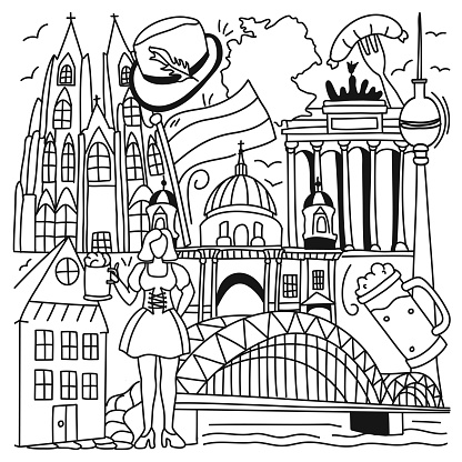 Germany Related Cartoon Doodle Illustration. Hand Drawn Vector