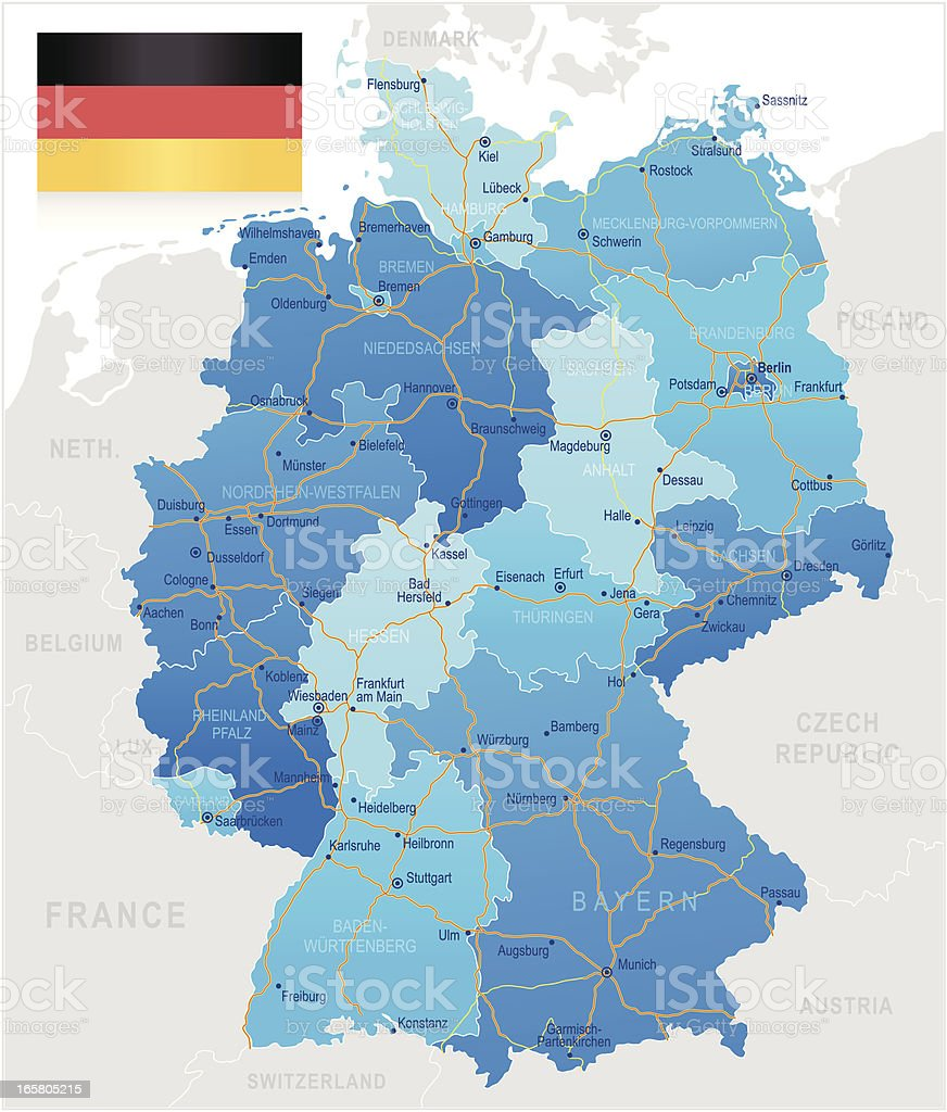 Germany - road map vector art illustration