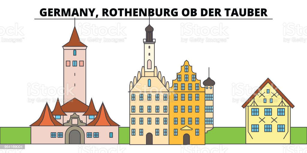 Duitsland, Rothenburg Ob Der Tauber. Skyline van de stad, architectuur, gebouwen, straten, silhouet, landschap, panorama, monumenten. Platte lijn vector illustratie ontwerpconcept. Geïsoleerde pictogrammen - Royalty-free Abstract vectorkunst