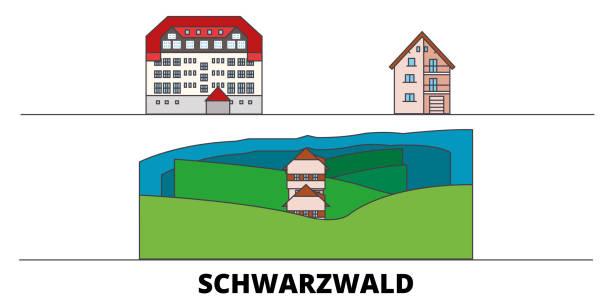 deutschland, schwarzwald flachlandmarken-vektorabbildung. deutschland, schwarzwaldstadt mit berühmten reisesehenswürdigkeiten, skyline, design. - schwarzwald stock-grafiken, -clipart, -cartoons und -symbole