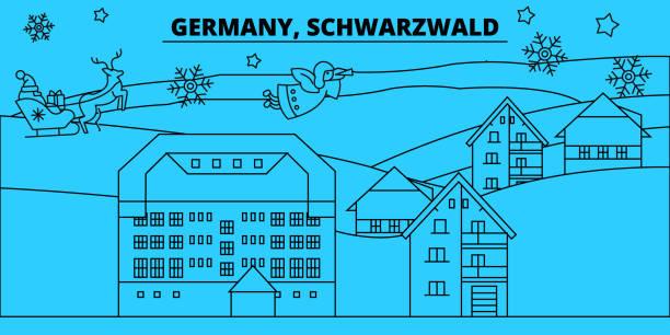 deutschland, schwarzwald winter urlaub skyline. merry christmas, happy new year dekoriert banner mit santa claus.germany, schwarzwald lineare weihnachten stadt flach vektorgrafik - schwarzwald stock-grafiken, -clipart, -cartoons und -symbole