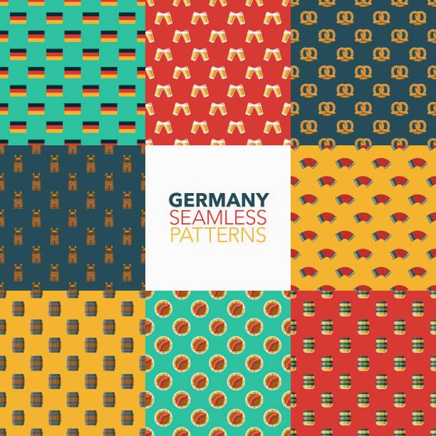 deutschland-nahtlose muster-set - sauerkraut stock-grafiken, -clipart, -cartoons und -symbole