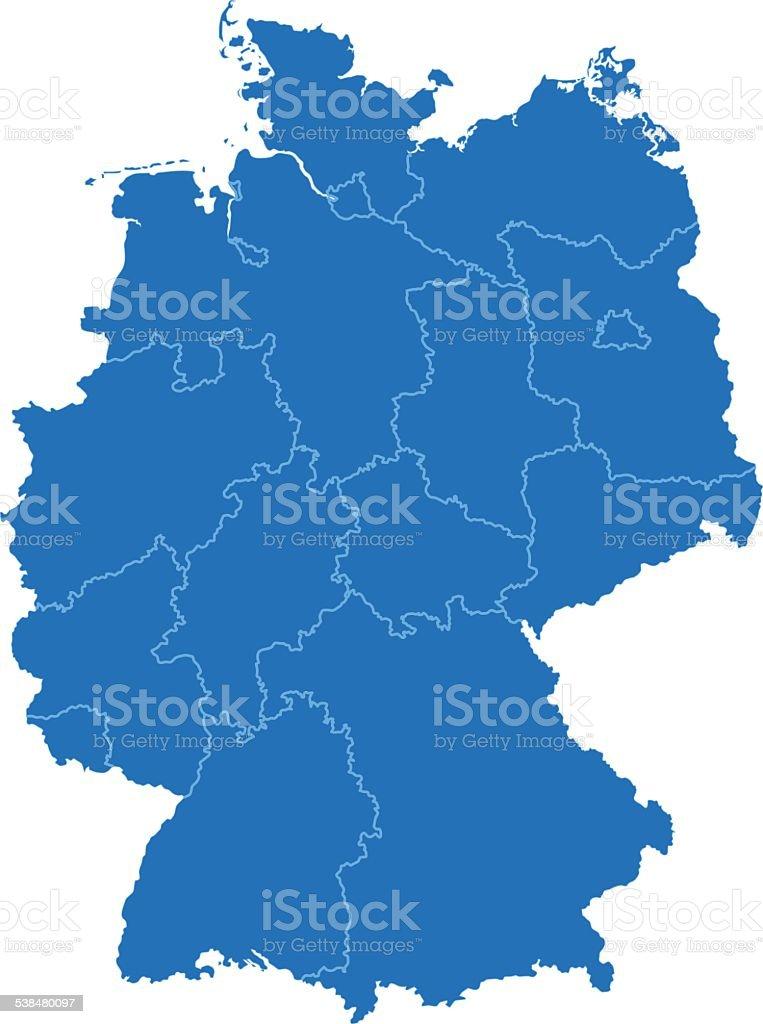 Alemania simple mapa azul sobre fondo blanco - ilustración de arte vectorial