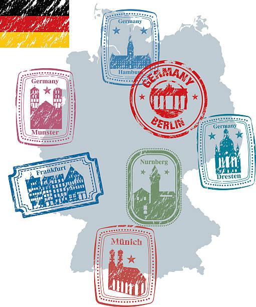 bildbanksillustrationer, clip art samt tecknat material och ikoner med germany stamp - germany map leipzig