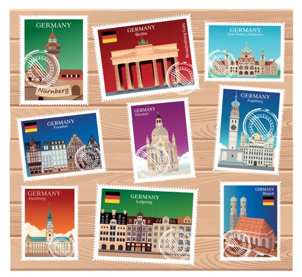 deutschland briefmarken - hannover stock-grafiken, -clipart, -cartoons und -symbole