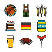 Germany Thin Line Icon Set