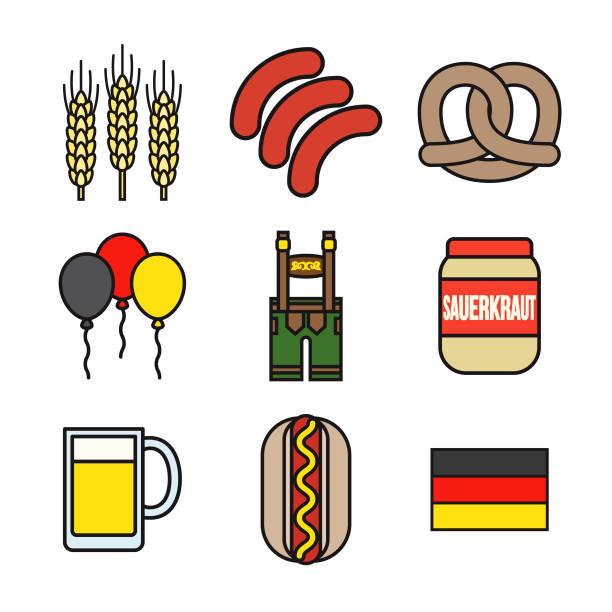 deutschland-dünne linie-icon-set - sauerkraut stock-grafiken, -clipart, -cartoons und -symbole