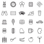 Germany Thin Line Outline Icon Set