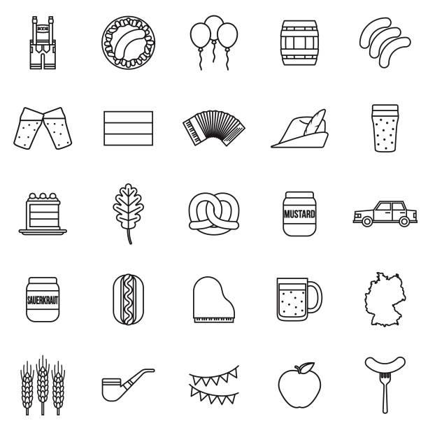 deutschland-dünne linie-gliederung-icon-set - sauerkraut stock-grafiken, -clipart, -cartoons und -symbole