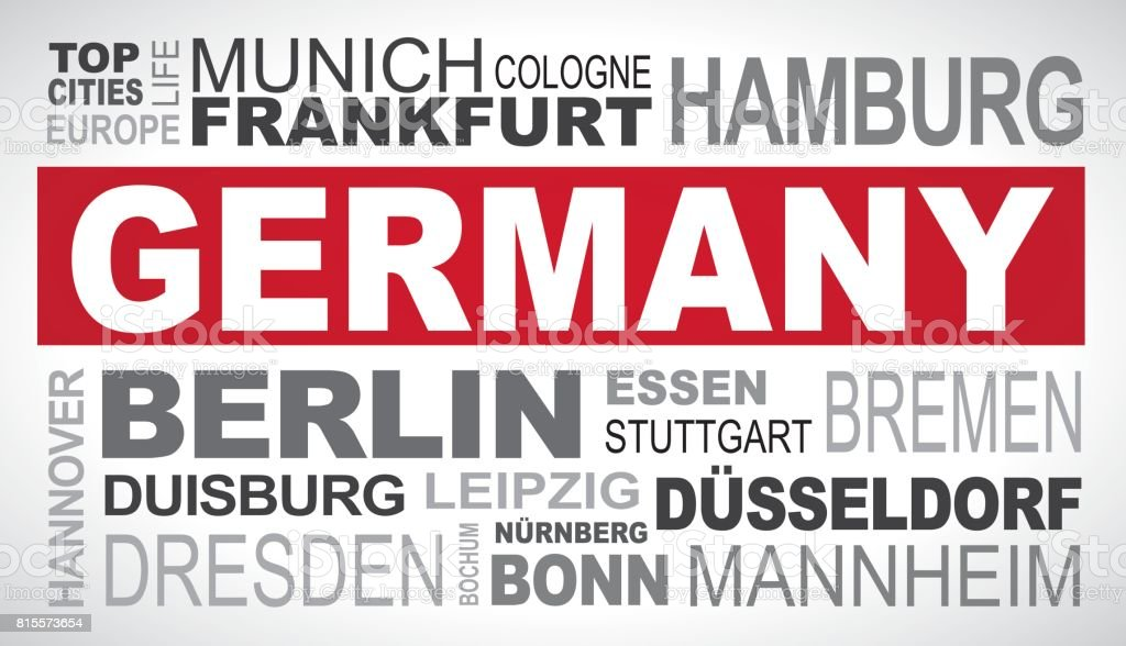 Germany top and most famous city names word cloud illustration
