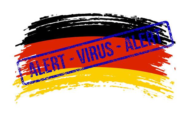 stockillustraties, clipart, cartoons en iconen met duitsland gescheurde vlag met een zegel met de woorden alarmvirus, vector - tears corona