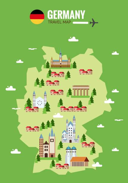 Germany travel map. Infographic travel and landmark. - ilustración de arte vectorial