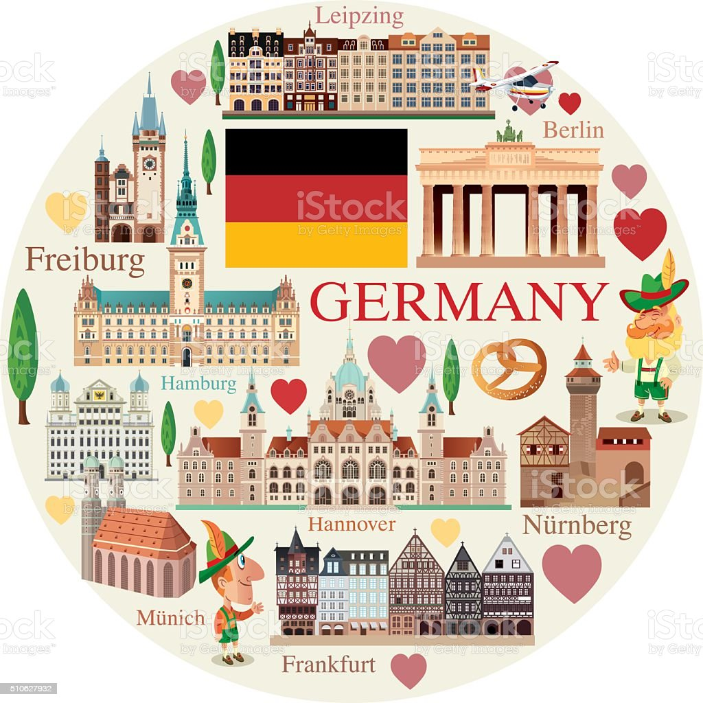 Germany travels vector art illustration