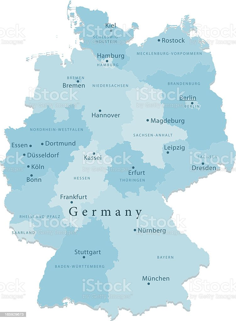 Germany Vector Map Regions Isolated vector art illustration