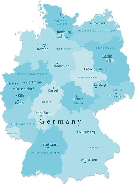 bildbanksillustrationer, clip art samt tecknat material och ikoner med germany vector map regions isolated - germany map leipzig