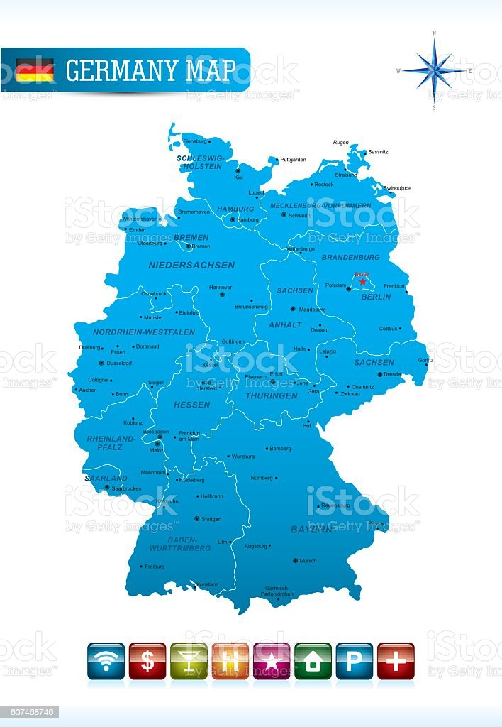 Germany Vector Map stock vector art 607468746 iStock