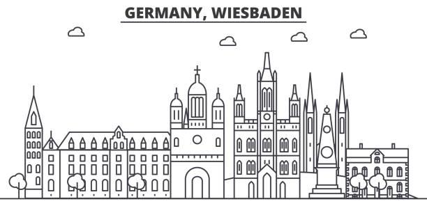 deutschland, wiesbaden architektur linie skyline abbildung. linearer vektor stadtbild mit berühmten sehenswürdigkeiten, sehenswürdigkeiten der stadt, design-ikonen. landschaft mit editierbaren striche - schwarzwald stock-grafiken, -clipart, -cartoons und -symbole