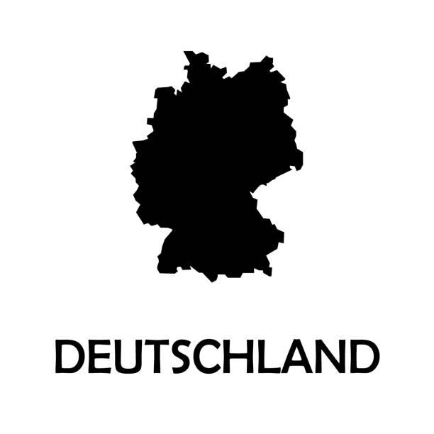 bildbanksillustrationer, clip art samt tecknat material och ikoner med tyskland, deutschland svart land gränsen karta. - germany map leipzig