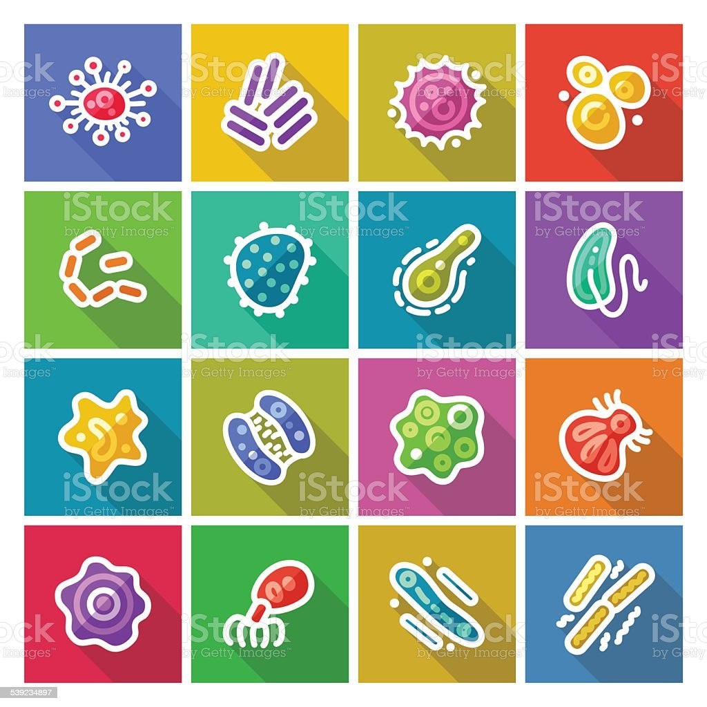 Germs and Bacteria Flat Icons Set vector art illustration