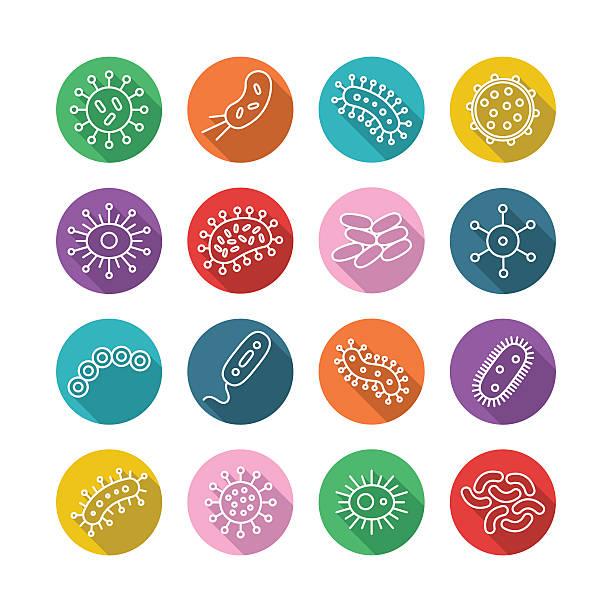 ilustraciones, imágenes clip art, dibujos animados e iconos de stock de gérmenes y bacterias conjunto de iconos-ilustración de vectores - cáncer tumor
