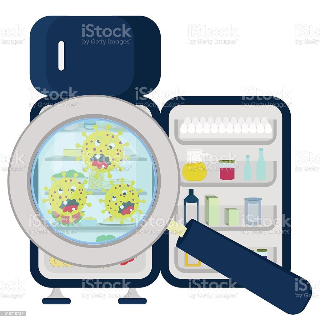 full refrigerator clipart. germs on refrigerator full vector art illustration clipart