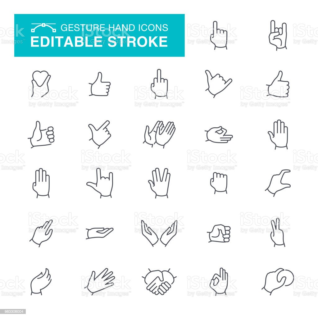 Gesture Editable Stroke Icons vector art illustration